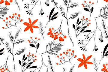 Black-red winter berries. Hand drawn floral seamless vector pattern. New year seamless pattern with branches, berries and flowers. Can be used for winter holiday invitations, greeting cards, print. Wall mural