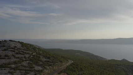 Wall Mural - Adriatic Sea and the Coastal Mountains. Northern Croatia. Scenic Croatian Landscape.