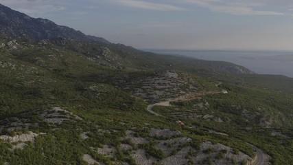 Wall Mural - Northern Croatia. Scenic Croatian Landscape. Adriatic Sea and the Coastal Mountains. Aerial Footage.