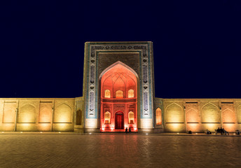Kalyan mosque in Bukhara at night, Uzbekistan