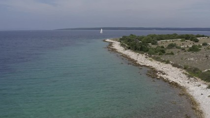 Wall Mural - Coastal Landscape. Scenic Turquoise Adriatic Sea From Above. Summer Destination. Northern Croatia, Europe.