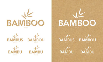 Bamboo Font Icons Set. Bamboo Text Design in Different Languages. Vector Logo.