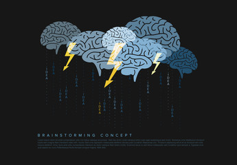Brainstorming Infographic with Brain Illustration