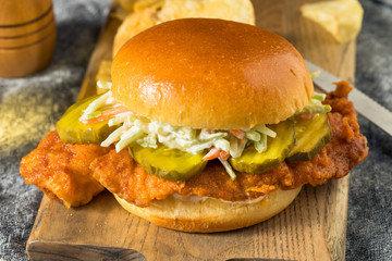 Homemade Nashville Hot Fish Sandwich