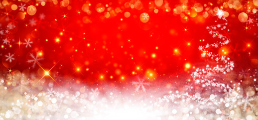 The Magic Christmas Tree. Merry Christmas and happy New Year greeting card. Elegant red Christmas background Fototapete