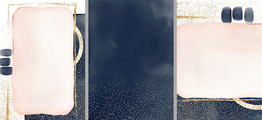 Granatowa ilustracja akwarela i złoto, na białym tle