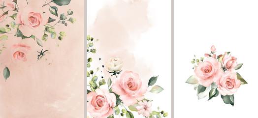 Malowane akwarelą, kompozycje kwiatowa, róże