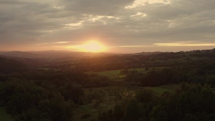 Wall Mural - Lesser Poland Sunset Scenery Aerial Footage. Malopolska Region.