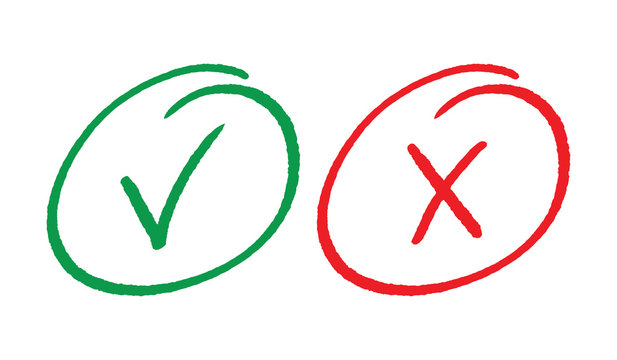hand drawn yes and no symbols. check and cancel symbols.