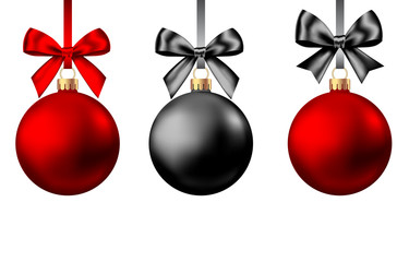 Fotomurales - Realistic  red and black  Christmas  balls  with bow and ribbon.