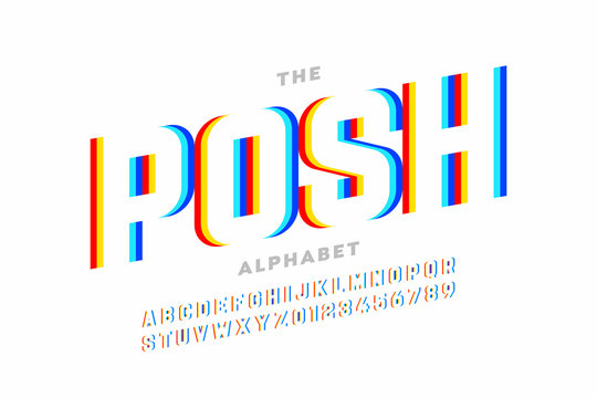 Modern font design, vibrant alphabet, letters and numbers