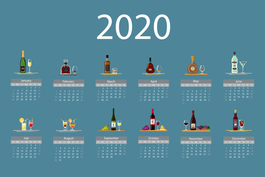 Calendar 2020. Monthly calendar is decorated with cute bottles of alcohol. Week starts on Sunday