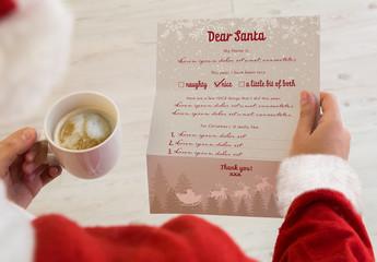 Santa Claus Reading a Letter Mockup