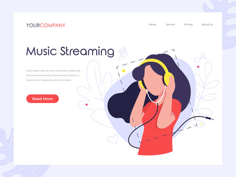 Music Streaming woman listening music on headphone flat vector illustration concept, can be used for landing page, ui, web, app intro card, editorial, flyer, and banner.