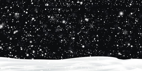 Fotomurales - Falling Christmas Shining snow, fog and wind at dark night sky. Winter Holidays Storm with Heavy snowfall, snowflakes flying in the air, snowdrifts, snow-covered hills. vector illustration.