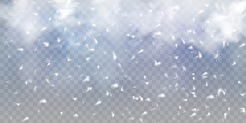 Fotomurales - Falling Christmas Shining snow, fog and wind isolated on transparent background. heavy snowfall, snowflakes in different shapes and forms. Winter Holidays Storm with snowflakes flying in the air.