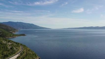 Wall Mural - Croatian Coastal Scenic Route in the Northern Croatia. Turquoise Adriatic Sea. Aerial Footage.