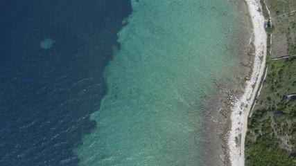 Wall Mural - Scenic Mediterranean Sea Coast. Croatian Adriatic Sea Scenery. Aerial Footage.