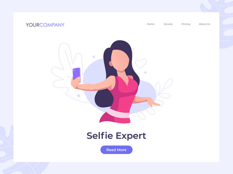 Selfie Expert, woman selfie vector illustration,can be used for landing page, ui, web, app intro card, editorial, flyer, and banner.