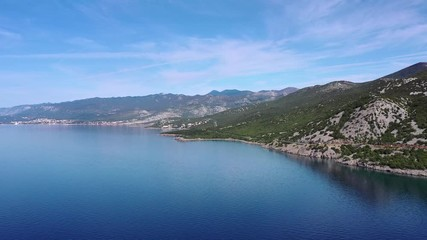 Wall Mural - Aerial Footage  of Croatian Coastal Highway and Turquoise Waters of the Mediterranean Sea. European Destination.