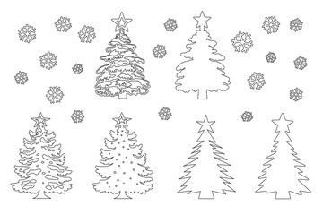 Christmas tree template set line silhouette