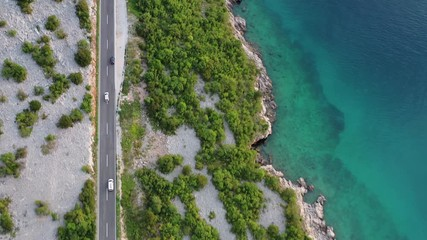 Wall Mural - Summer Vacation. Croatian Shore and the Scenic Route Drive. Mediterranean Sea Road Trip.