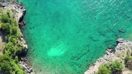 Wall Mural - Small Scenic Mediterranean Sea Rocky Bay. Croatia, Europe. Summer Destination. Turquoise Water.