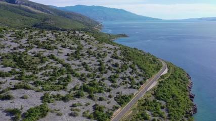 Wall Mural - Croatian Scenic Coastal Highway and the Mediterranean Sea. Aerial Footage.