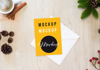 Card and Envelope Mockup in a Holiday Scene