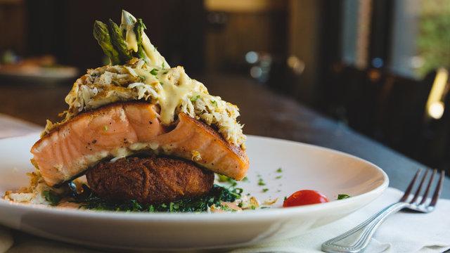Decadent fish dinner plate