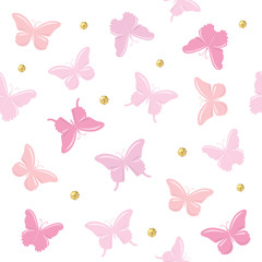 Butterflies with glitter polka dots seamless pattern background. Cute cartoons. Girly. Vector