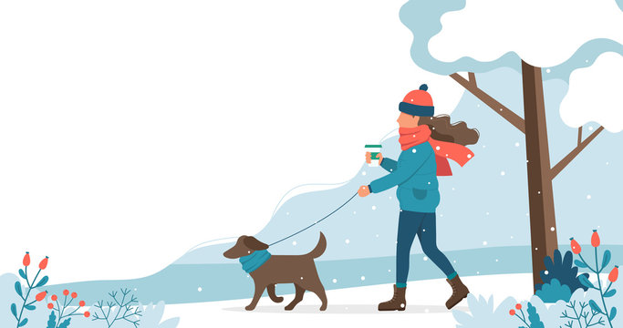 Woman walking the dog in winter. Cute vector illustration in flat style.