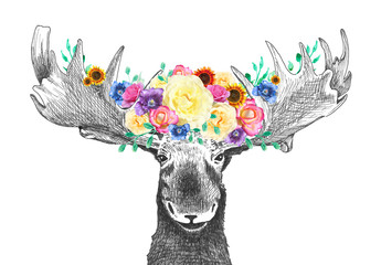 Moose with flowers in antlers, cute fun happy moose is hand drawn illustration or sketch with flower images in bright floral spring colors, bouquet or flower arrangement on animals head