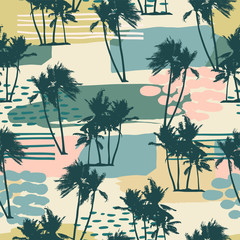 Abstract creative seamless pattern with tropical palms and artistic background.