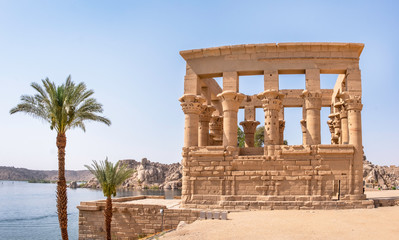 Trajan kiosk at Philae Temple near Aswan (also called the Temple of Isis) overlooking the river Nile, Egypt Fototapete