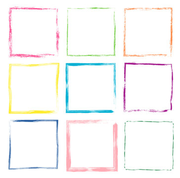 Colorful hand drawn vector set with cute grunge square frames and borders for kids products