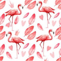 Poster Flamingo seamless pattern an isolated white background, watercolor illustration, painting cute pink flamingo birds, feathers, heart, crown
