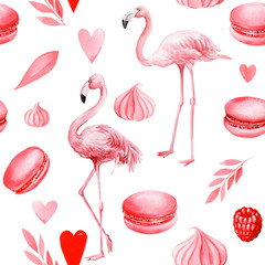 Canvas Prints Flamingo seamless pattern of cakes, hearts, leaves, meringues, macaroni, pink flamingo on an isolated white background, watercolor illustration