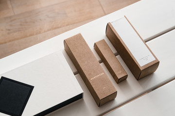 Craft paper cosmetic boxes, packaging mockup