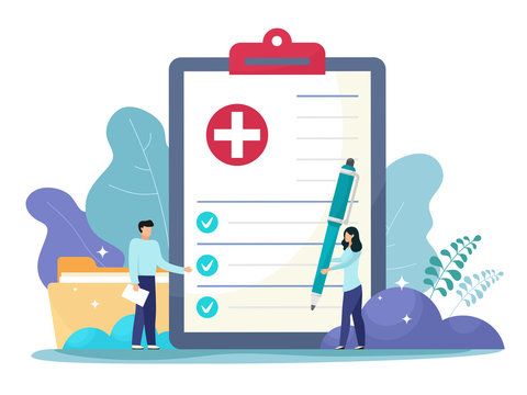 Medical form, medical report. Characters.Clipboard with a cross, pen and check marks. Informed consent, prescription, application form, health insurance, medical history concepts. Vector cartoon flat