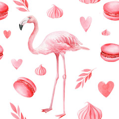 Tuinposter Flamingo seamless pattern of cakes, hearts, leaves, meringues, macaroni, pink flamingo on an isolated white background, watercolor illustration