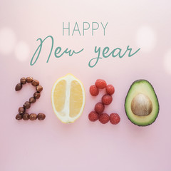 Foto op Aluminium Eten Happy New year2020 made from healthy food on pastel background, Healthy New year resolution diet and lifestyle