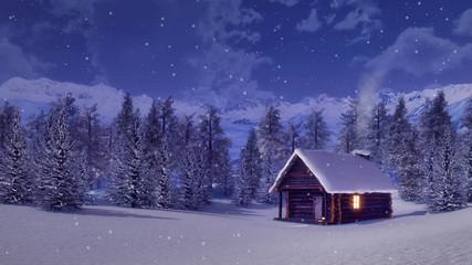 Wall Mural - Solitary snowbound log cabin with smoking chimney and lighted window among fir forest high in snowy alpine mountains at snowfall winter night. 3D animation in cinemagraph style rendered in 4K