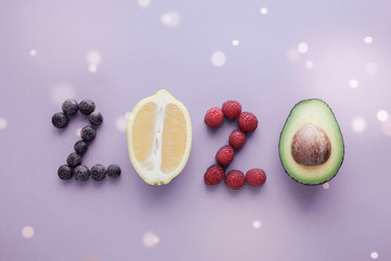 Foto op Aluminium Eten 2020 made from healthy food on pastel background, Healhty New year resolution diet and lifestyle