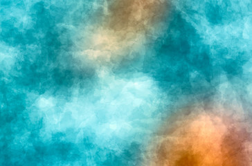 Abstract modern painting . Dry brush painted paper , canvas , wall . Colorful textured background in cyan  and  orange tones .