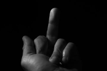 Majeur de la main geste provocant va te faire foutre concept  espace slogan