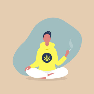 Young relaxed male character sitting in a meditative lotus pose and smoking a joint, cannabis consumer, millennial lifestyle