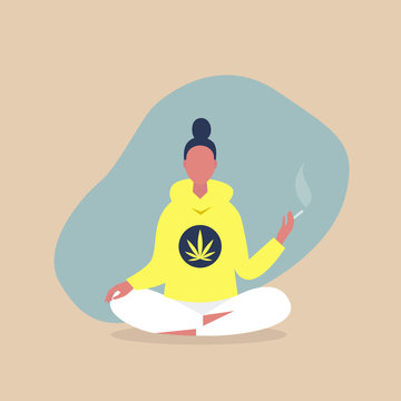 Young relaxed female character sitting in a meditative lotus pose and smoking a joint, cannabis consumer, millennial lifestyle
