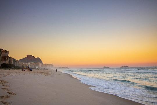 Sunset at Barra da Tijuca Beach, West Side District of Rio de Janeiro Brazil