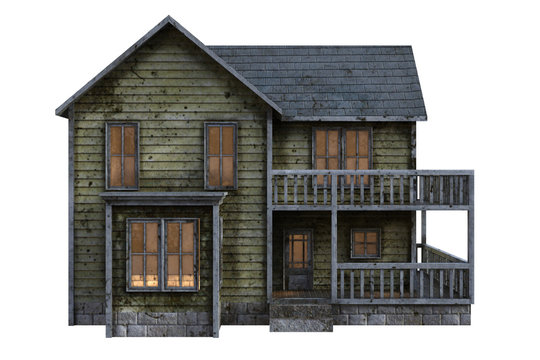 Old doll house isolated on white, 3d render.